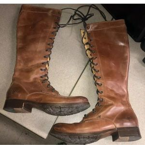Frye Combat Lace Up Brown Tall Zip Ridding Boots 8